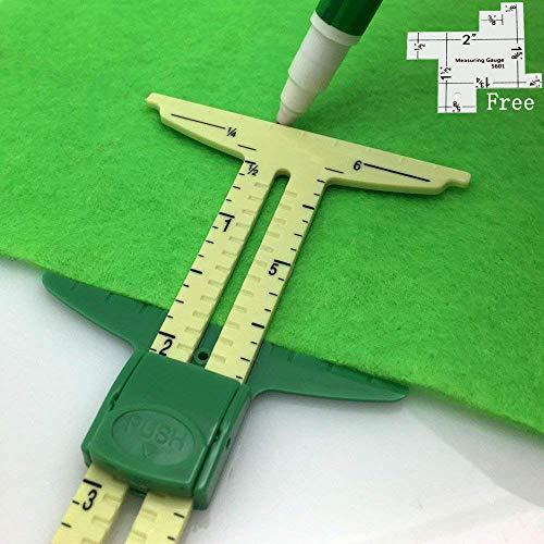 (HONEYSEW 5-in-1 Sliding Gauge Measuring Sewing Ruler Tool with Free 1pc Measuring Gauge)