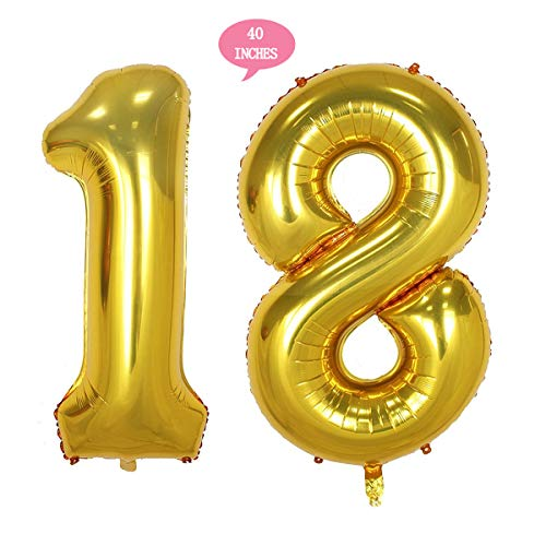 Bechampion 40 Inch Gold Jumbo Digital Number Balloons Huge Giant Balloons Foil Mylar Number Balloons for 18th Birthday Party Supplies