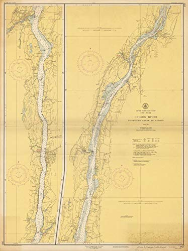 Map Reproductions Historical (Historic Pictoric Map   Coastal Charts - NY Hudson River: Wappinger Creek to Hudson 1950   Vintage Poster Art Reproduction   24in x 18in)