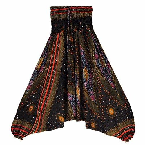 Langmotai Yogahosen meine Damen Bequeme Yoga Strand Baggy Gypsy Frauen Pluderhosen Hose Indian Summer Lose Yoga Hose Eine Größe, Ha 0012901, Eine Größe