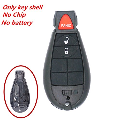 WFMJ 3 Buttons Keyless Remote Smart Key Case Chain Shell Fob For IYZ-C01C Chrysler Town & Country Dodge Ram Truck 1500 2500 3500 Charger Durango Grand Caravan Journey Magnum Jeep Grand Cherokee