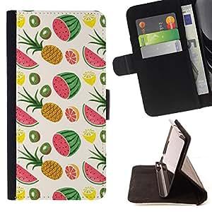 - Watermelon Pineapple Weed Fruit Pattern - - Prima caja de la PU billetera de cuero con ranuras para tarjetas, efectivo desmontable correa para l Funny HouseFOR LG Nexus 5 D820 D821