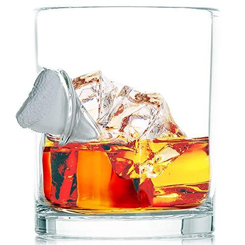 "Stuck in Glass ""SHARK BITE"" Whiskey Glasses   Original Embedded 10oz Borosilicate Rock Glassware (SINGLE)"
