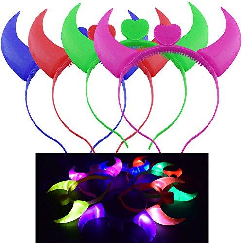 Diy Devil Costume Toddler (Efanr LED Flashing Devil Horns Headband Glowing Headdress Festival Toy (Purple))