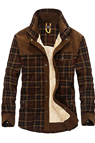 Mr.Stream Men's Outdoor Casual Vintage Long Sleeve Plaid Flannel Button Down Shirt Jacket 3XL Coffee