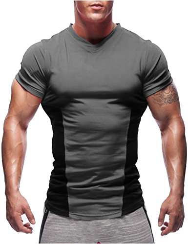 Top Short Sleeve Training (COOFANDY Men's Athletic Shirt Gym Workout Tee Short Sleeve Muscle Sports Training T Shirts, Grey, Medium)