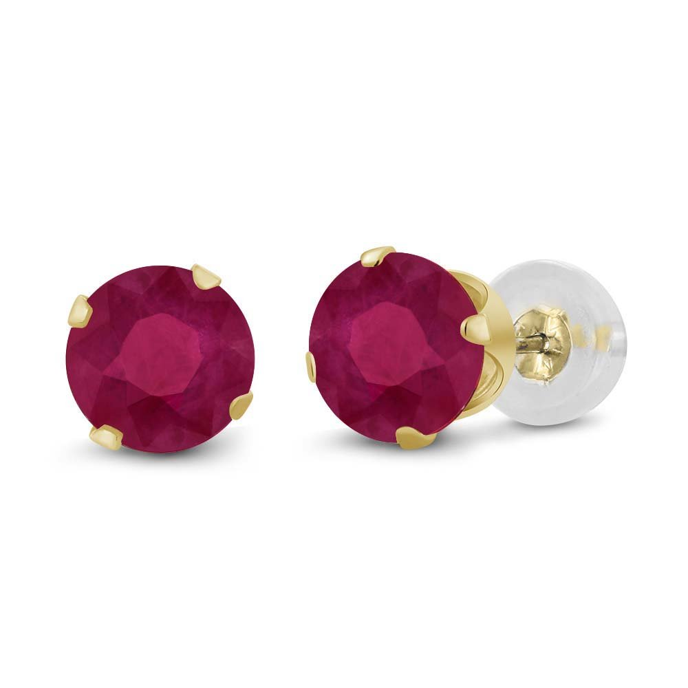 1.12 Ct Round Cut 5mm Red Ruby 14K Yellow Gold Stud Women's Earrings