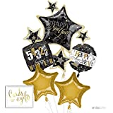 Andaz Press Balloon Bouquet Party Kit with Gold Cards & Gifts Sign, Happy New Year 2018 2019 2020 Foil Mylar Balloon Decorations, 1-Set