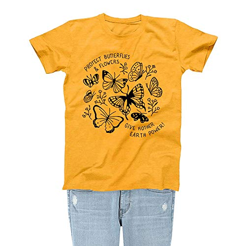 Rocksir Girl TEES Women Protect Butterflies & Flowers Save The Bees Theme Lovely Summer Yellow T-Shirt(M Bees 4)