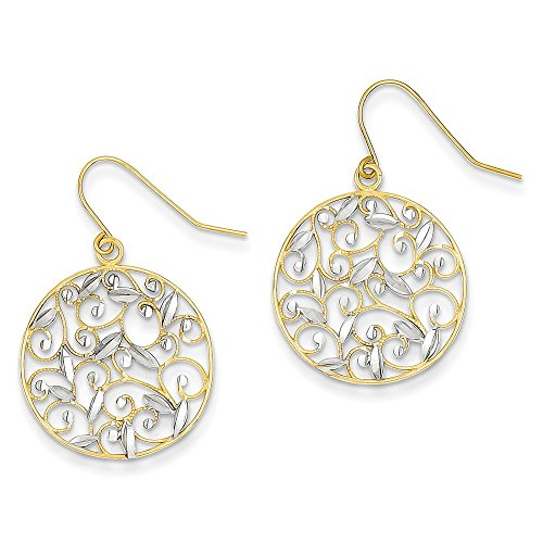 14k Gold & Rhodium Diamond-cut Filigree Circle Wire Earrings