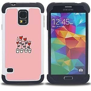 "Hypernova Híbrido Heavy Duty armadura cubierta silicona prueba golpes Funda caso resistente Para SAMSUNG Galaxy S5 V / i9600 / SM-G900 [Corazón rosado Dibujo lindo""]"