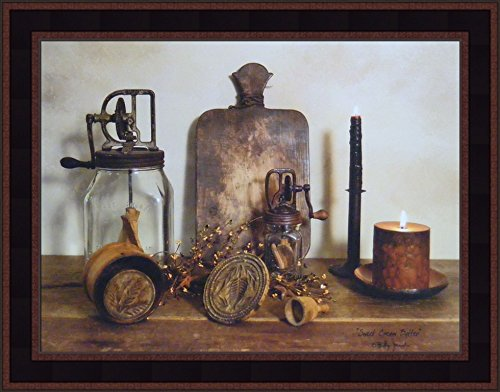 (Sweet Cream Butter by Billy Jacobs 15x19 Churn Candles Country Primitive Folk Art Photography Wall Décor Framed Picture)