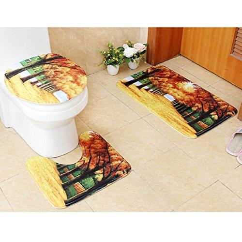 3 Piece Bath Mat by Vibola Bathroom Non-Slip Scene Print Pedestal Rug + Lid Toilet Cover + Bath Mat 45/75CM (Framed Pedestal)