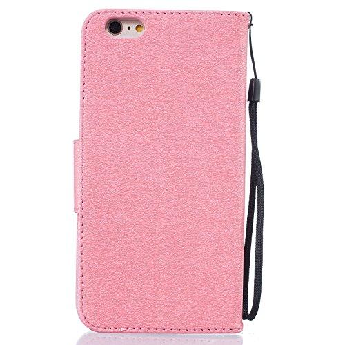Für Apple iPhone 6 plus (5.5 Zoll) Tasche ZeWoo® Ledertasche Kunstleder Brieftasche Hülle PU Leder Schutzhülle Case Cover - BF065 / leichte rosa Feder
