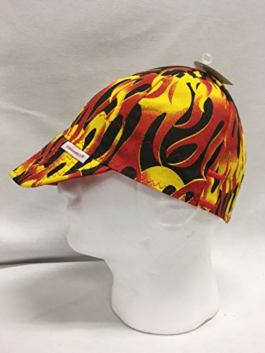 Comeaux-Caps-Reversible-Welding-Cap-Red-Flames-Size-7-14