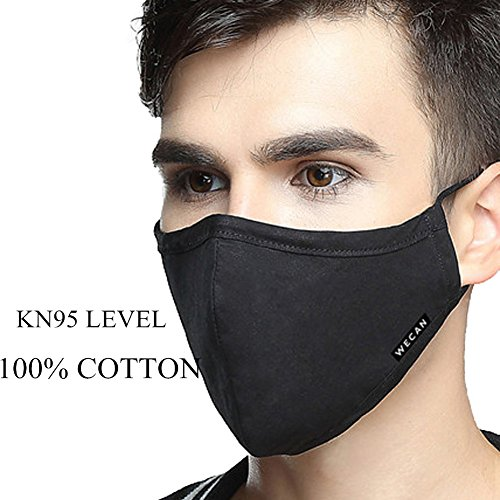 ZWZCYZ Masks Dust Mask Anti Pollution Mask PM2.5 4 Layer Activated Carbon Filter Insert Can Be Washed Reusable Masks Cotton Mouth Mask for Men Women (Large(Men's), Black) by ZWZCYZ