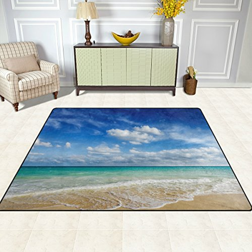 Naanle Ocean Area Rug 5'x7', Caribean Beach Sea Waves Polyester Area Rug Mat for Living Dining Dorm Room Bedroom Home Decorative