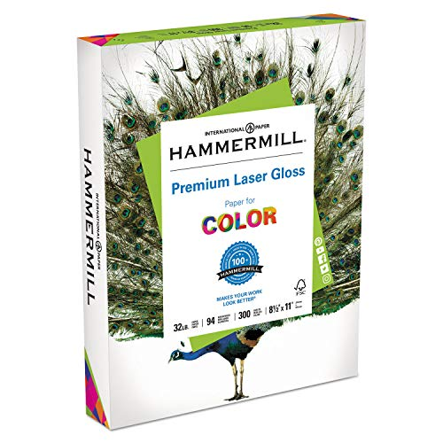 Hammermill 163110 Color Laser Gloss Paper, 94 Brightness, 32lb, 8-1/2 x 11, White, 300 Sheets/Pack