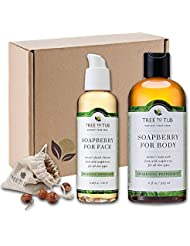 SPRING ONLY - Real, Organic Face And Body Bath Set. The Only pH 5.5 Balanced Shower Set For Sensitive Skin. Natural Bath Gift Sets For Women. Comes With Real Wild Soapberries - Peppermint