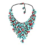 AeraVida Reconstructed Red Coral-Simulated TQ Waterfall Cotton Rope Bib-Style Necklace