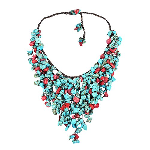 [Reconstructed Red Coral-Simulated TQ Waterfall Cotton Rope Bib-Style Necklace] (Blue Turquoise Red Coral Necklace)