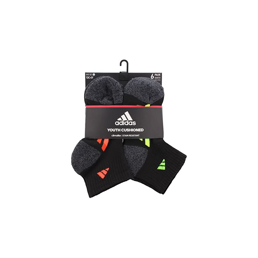 adidas Youth Graphic Medium Quarter Sock, Pack of 6