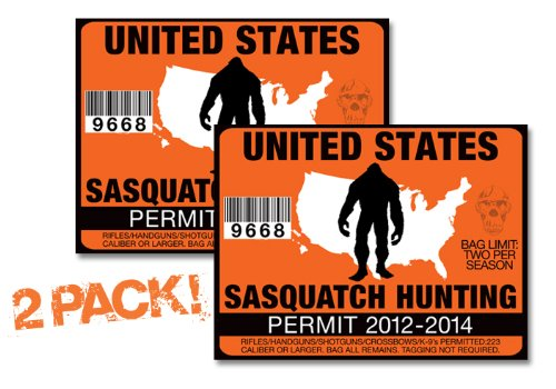 USA SASQUATCH HUNTING PERMIT LICENSE TAG DECAL TRUCK POLARIS RZR JEEP WRANGLER STICKER -US