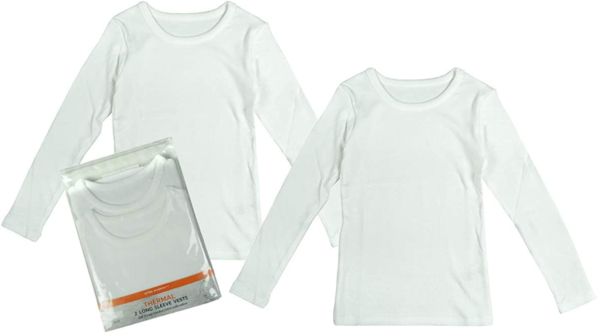 Boys Pack of 2 Thermal White Long Sleeve Vest Tops Underwear Sizes from 2 to 16 Years