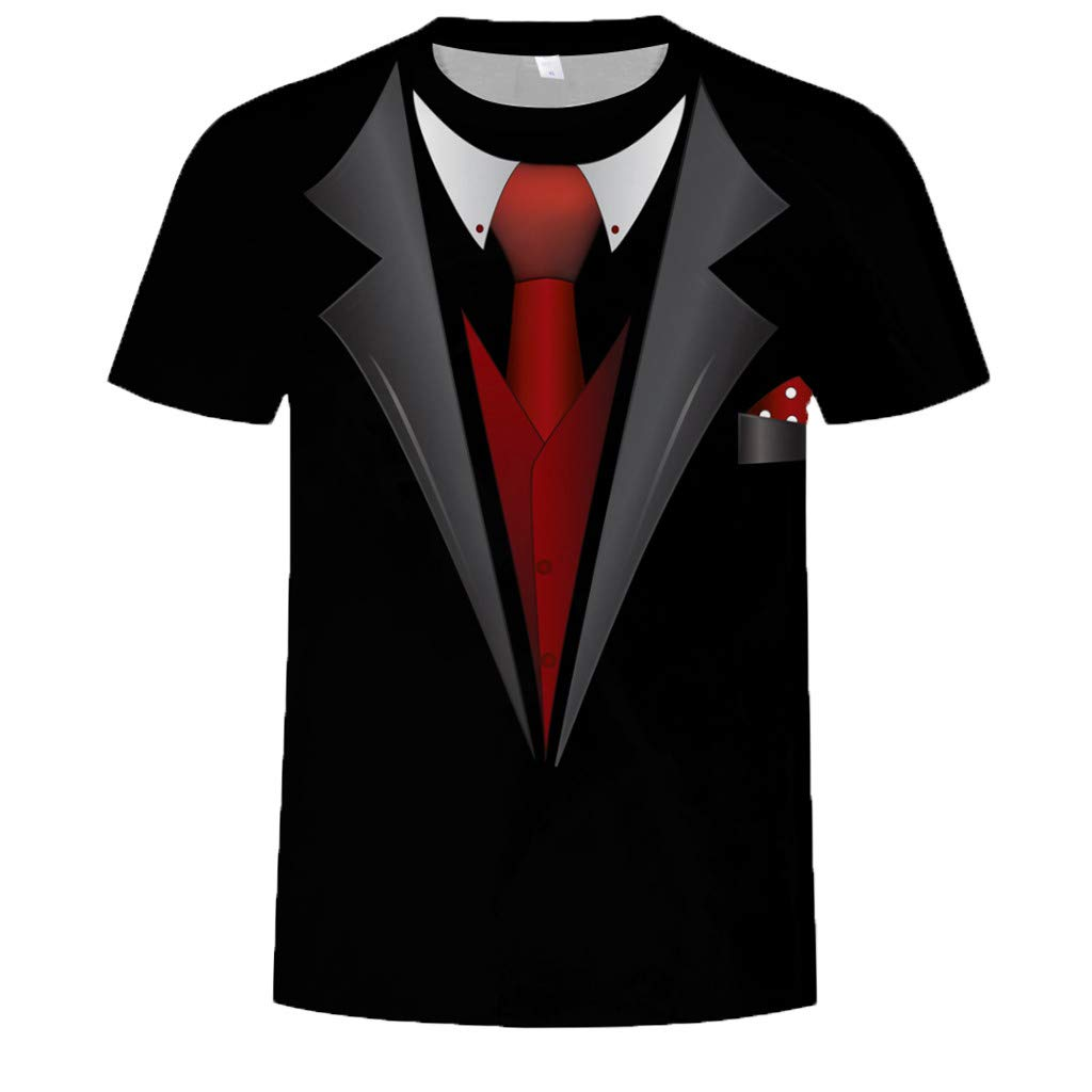 Allywit Hot Popular!Men's Funny Faux Tuxedo Suit Muscle 3D Print Short Sleeve T-Shirt Top Blouse Tee Black