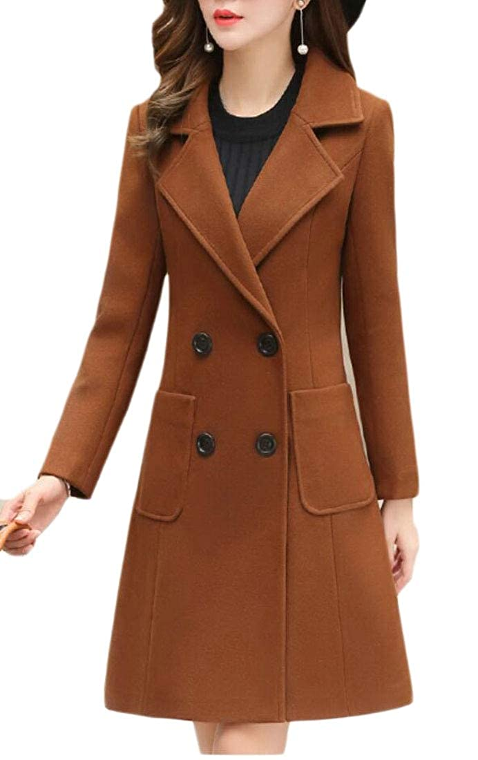 Brown pujinggeCA Women Slim Double Breasted Mid Long Length Wool Blend Casual Trench Coat