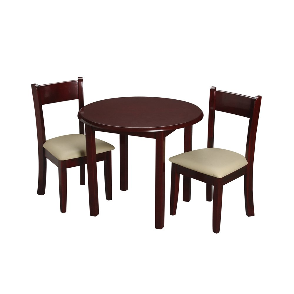 Gift Mark Children's Cherry Round Table with 2 Matching Upholstered Chairs