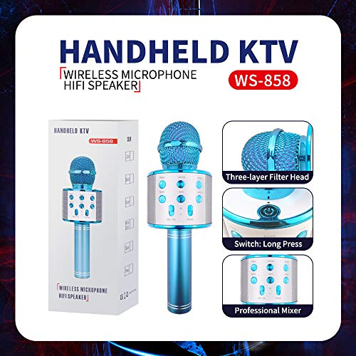 Karaoke Microphone for Kids, Birhday Gifts for 4-12 Year Old Girls Kids Singing Karaoke Microphone for Kid Toy Age 5-10 Girl Kids Music Gift for Kid Girls Bule Mic by KIMMI (Image #3)