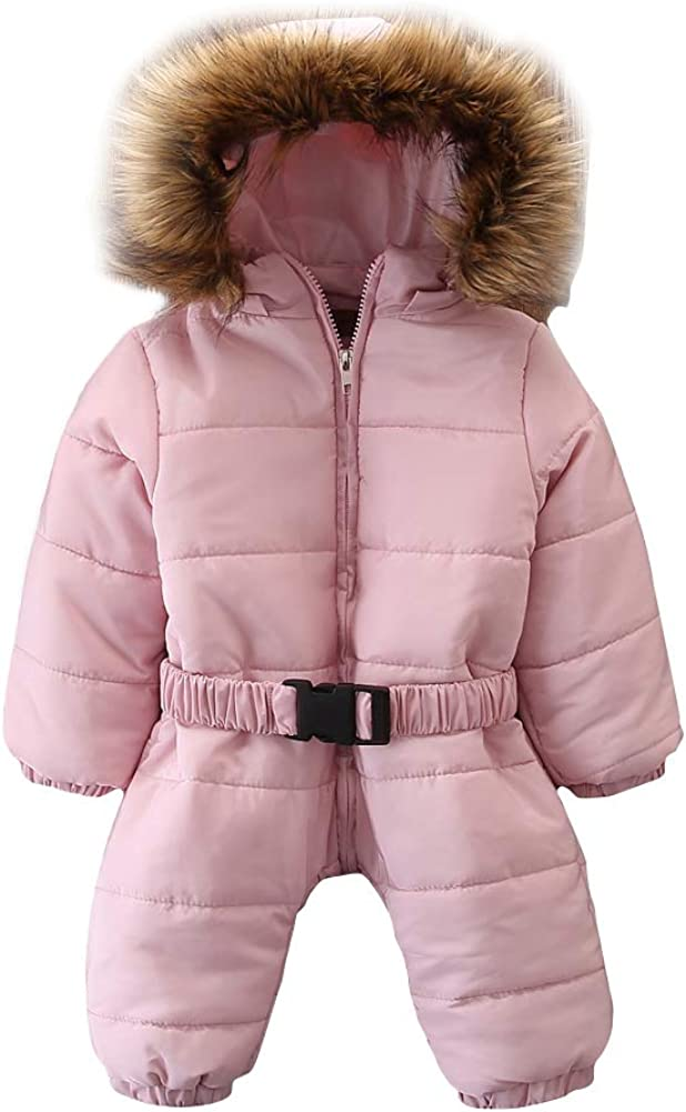 YDuoDuo Fall Winter Down Jacket Hooded Rompers Long Sleeve Zipper Cotton Coat Onesies for 0-24M Baby Toddler Girl