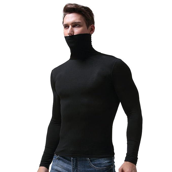 YiLianDa Hombres Camiseta Térmica De Cuello Alto Y Vuelto Manga Larga Camiseta Deportiva Con Tecnología De