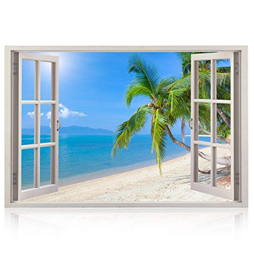 Realistic Window Wall Decal - Peel and Stick Nautical Decor for Living Room, Bedroom, Office, Playroom - Beach Wall Murals Removable Window Frame Style Ocean Wall Art - Vinyl Poster Wall Stickers
