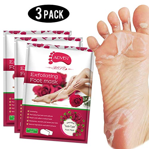 Foot Peel Mask 3 Pack, Exfoliator Peel Off Calluses Dead Skin Callus Remover,Baby Soft Smooth Touch Feet-Men Women (rose) ()