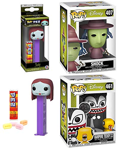 Sweet Sally Figure Head Nightmare Before Christmas PEZ Bundled Shock Pop! NBC Witch Vinyl #407 Bundled with + Vampire Teddy with Evil Duck Character #461 Pack 3 Items (407 Disney)