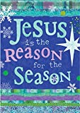 """Jesus is The Reason For The Season Star of Bethlehem 28"""" x 40"""" Double Sided Christmas Outdoor House Flag"""