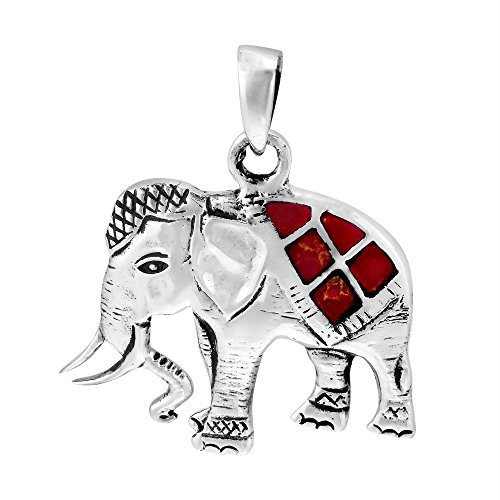AeraVida Thai Royal Elephant Reconstructed Red Coral Inlay .925 Sterling Silver Pendant