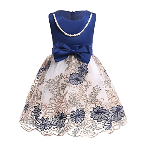 Girls-Dress-Party-Wedding-Porm-Flower-Casual-Tutu-Dresses-with-Necklace-Dark-Blue-7T