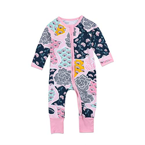 Newborn Baby Girl Pajamas Sleeper Clothes Floral Cotton Zipper Pjs Sleep Wear One-Piece Romper Jumpsuit Home Wear for Girl (Pink, 3-4 Year)