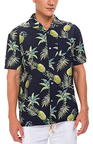 (Janmid Men's Tropical Hawaiian Shirt Casual Button Down Short Sleeve Shirt Navy Pineapple L)