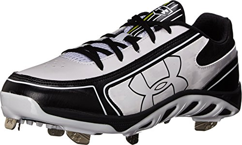 Under Armour Women's Spine Glyde St Cc Metal Fastpitch Cleat, White/Black, SZ 10 (Glyde St Softball Cleats)