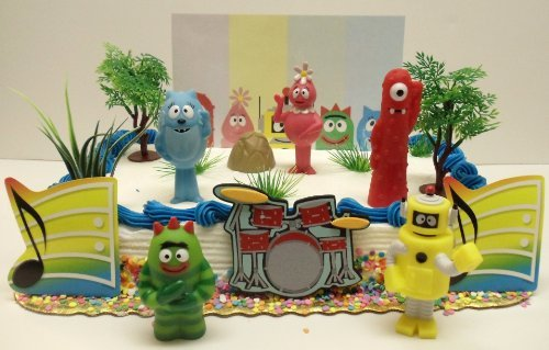 Yo Gabba Gabba 15 Piece Birthday Cake Topper Set Featuring Muno, Brobee, Toodee, Foofa, Plex and Themed Decorative Accessories - Cake Topper Set Includes All Items Shown
