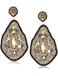 Leather and Abalone Large Tear Drop Earrings