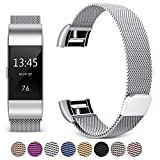 Hotodeal For Fitbit Charge 2 Bands, Band Milanese Loop Stainless Steel Magnet Metal Replacement Bracelet Strap, Wristbands Accessories for Women Men …
