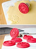 "StarPack Premium Christmas Cookie Stamps Set, 6 Stamps including ""Homemade"", ""Eat Me"" and Snowman, 1 Round Cookie Cutter, 1 Wooden Press, Bonus Cooking Tips PDF"