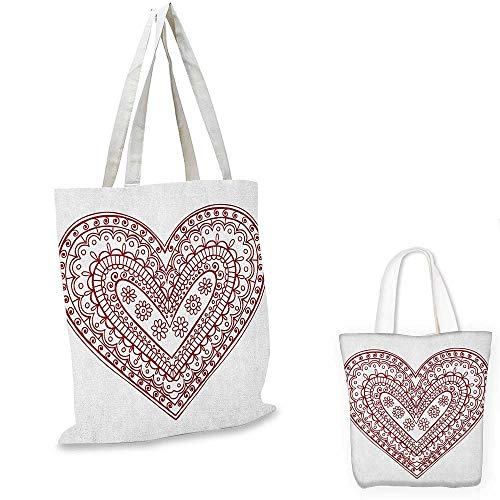 Henna canvas messenger bag Paisley Doodle in Heart Shapes Little Blossoms Swirls Curves Hippie Sixties Influence canvas beach bag Ruby White. 16