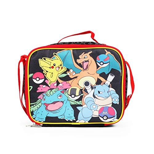 New Arrive 2017 Pokemon Pikachu Black & Red School Lunch Bag