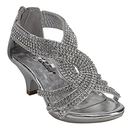 2911caf8b0e JJF Shoes Fabulous Angel-37K Kids Little Girls Bling Rhinestone Platform  Dress Heels Sandals,Silver,4